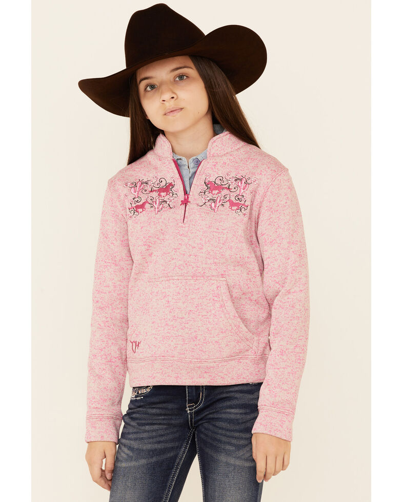 Cowgirl Hardware Girls' Heather Pink Floral Horse Embroidered 1/4 Zip Speckle Fleece Pullover , Pink, hi-res