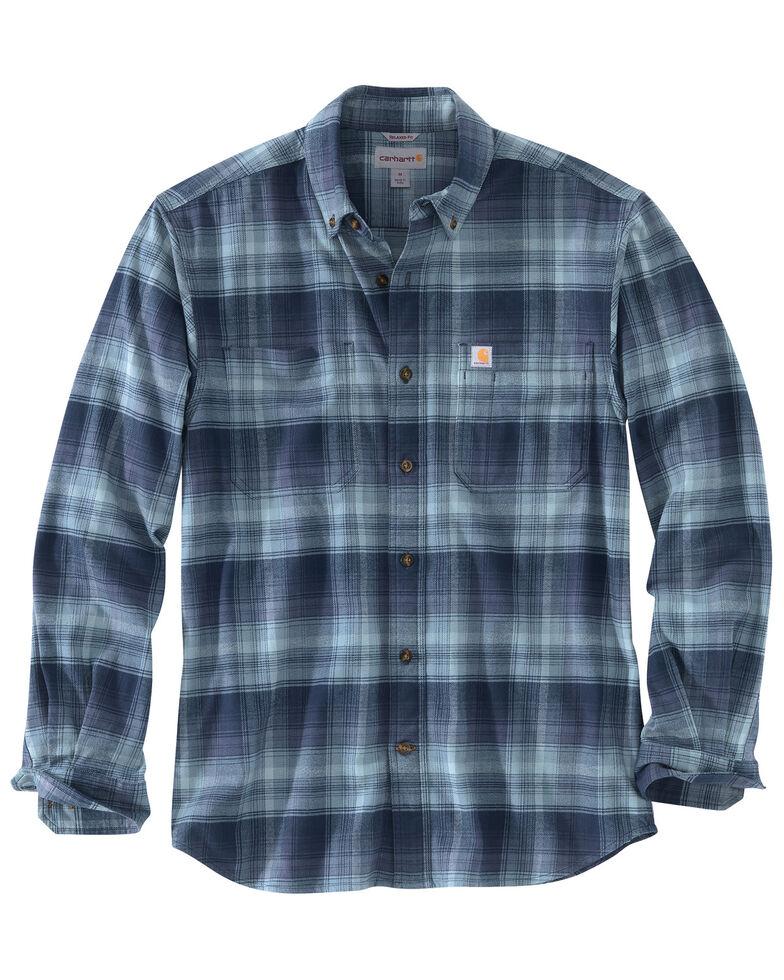 Carhartt Men's Rugged Flex Hamilton Plaid Long Sleeve Work Shirt - Tall , Navy, hi-res