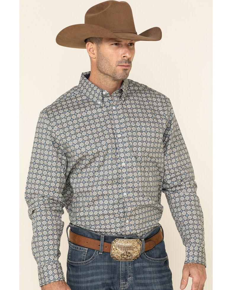 Cody James Core Men's Aztec Checker Geo Print Long Sleeve Western Shirt , Blue, hi-res