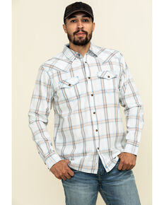 Moonshine Spirit Men's Bloomfield Large Plaid Long Sleeve Western Shirt , Light Blue, hi-res