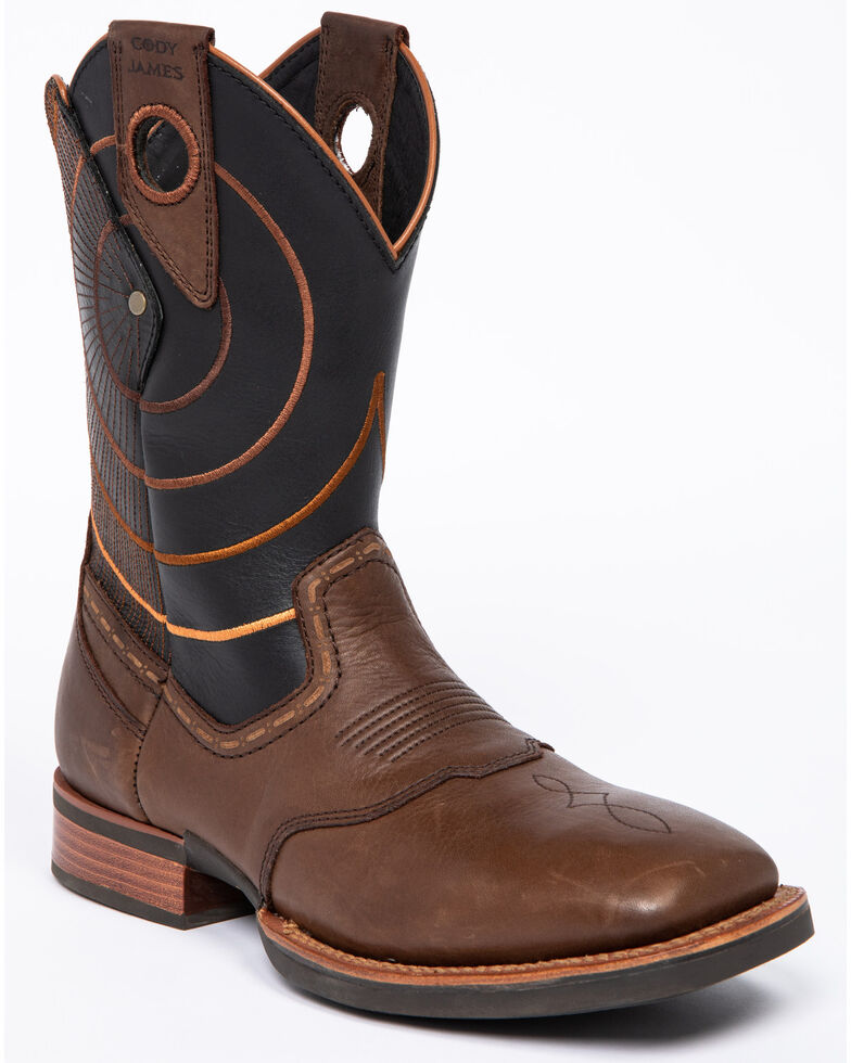 Cody James Men's Extreme Embroidery Western Boots - Wide Square Toe, Brown, hi-res