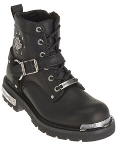 Harley Davidson Women's Becky Moto Boots - Round Toe, Black, hi-res