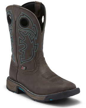 Justin Men's Stampede Magnetic Steel Western Work Boots - Soft Toe, Grey, hi-res