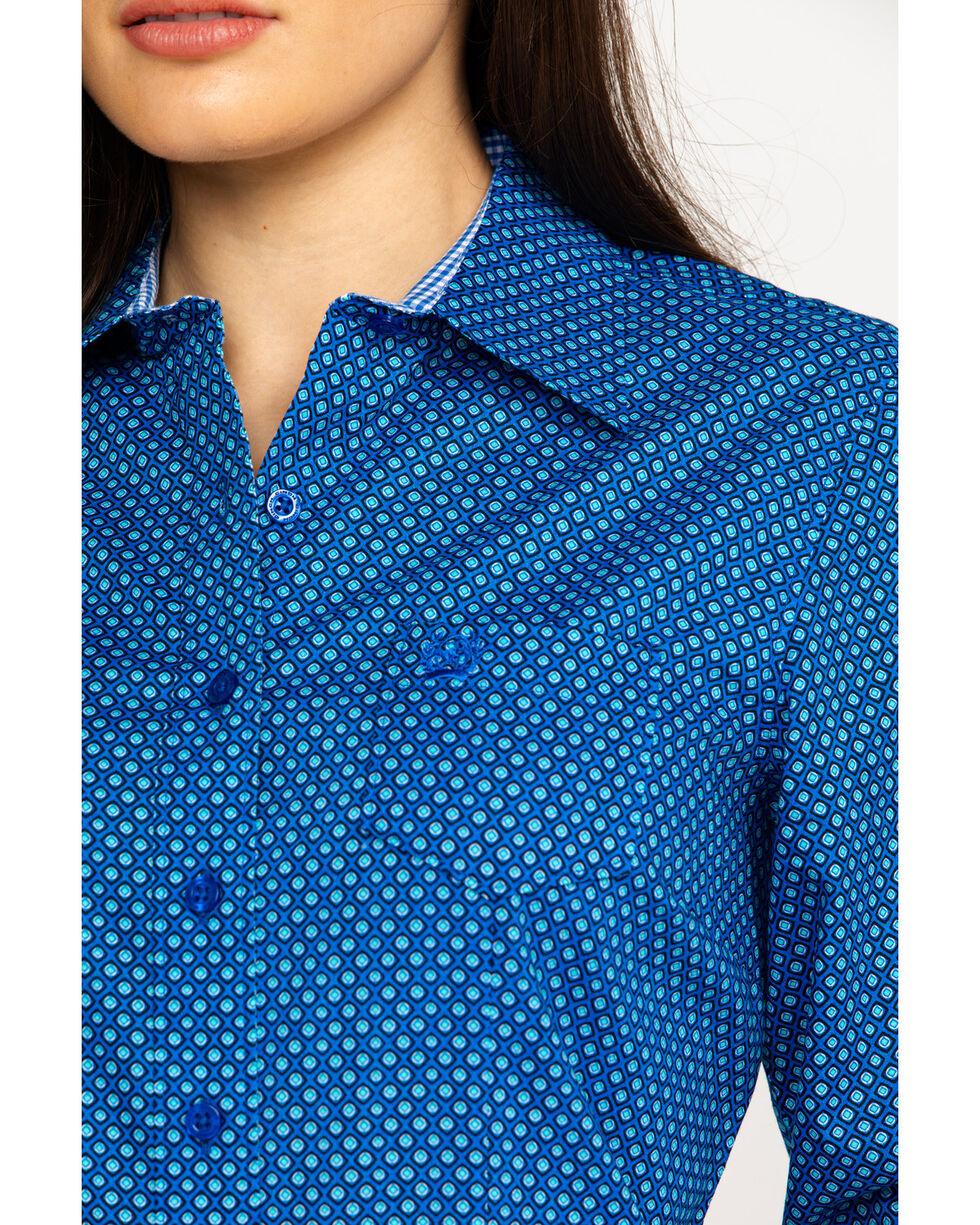 Cinch Women's Dotted Geo Print Logo Long Sleeve Western Shirt , Royal Blue, hi-res
