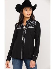 Roper Women's Black Horse Embroidered Long Sleeve Western Shirt, Black, hi-res