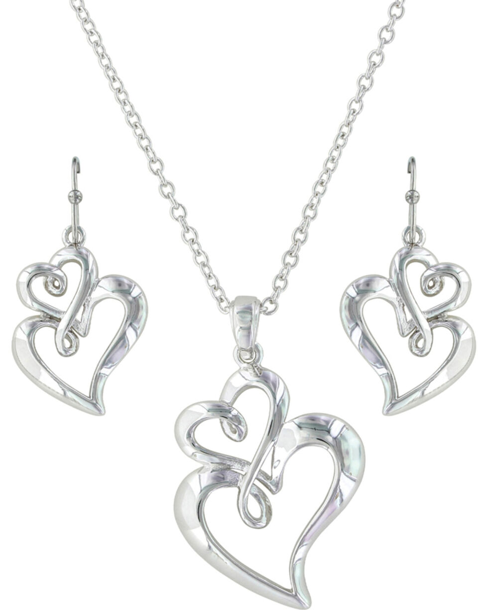 Montana Silversmiths Women's Infinite Love Heart Jewelry Set , Silver, hi-res