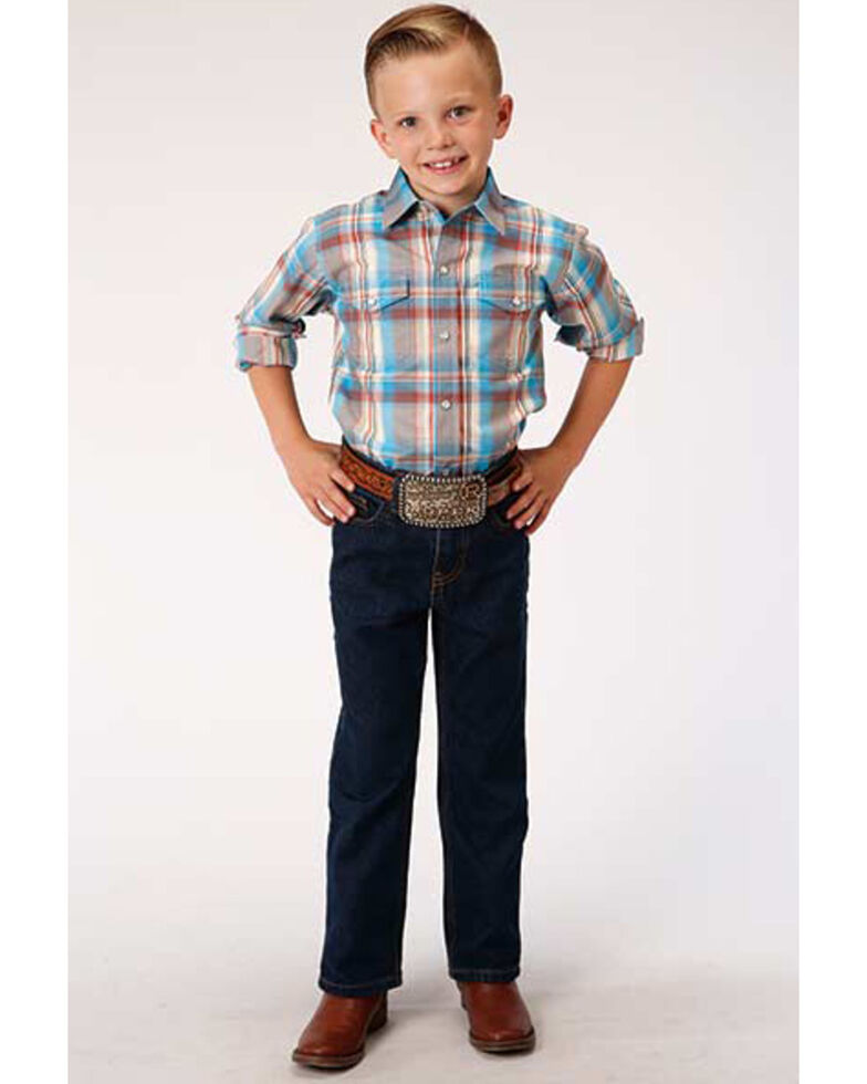 Roper Boys' Amarillo Oasis Plaid Long Sleeve Western Shirt , Multi, hi-res