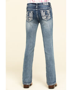 Grace in LA Little Girls' Light Wash Scattered Lines Bootcut Jeans, Blue, hi-res