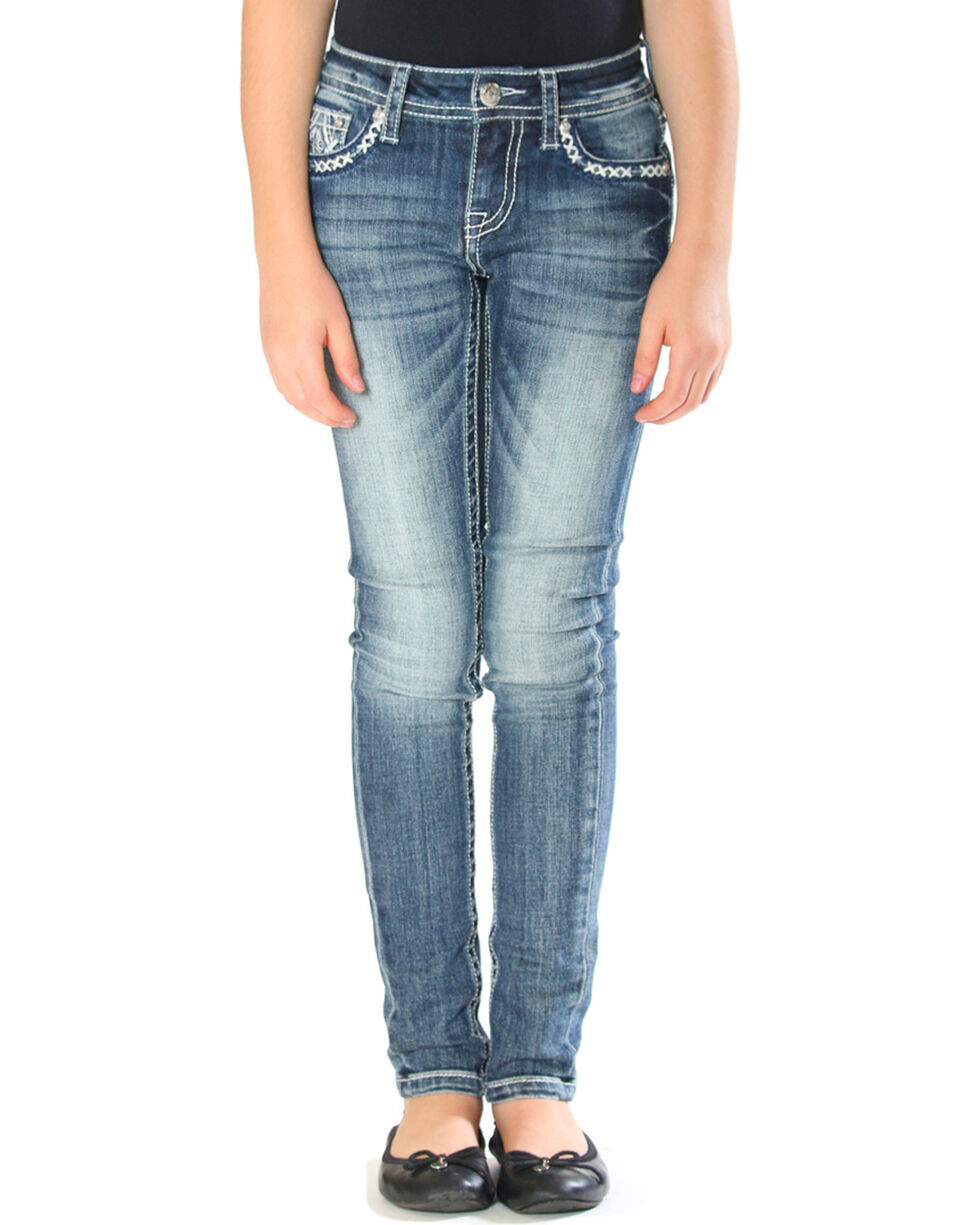 Grace in LA Girls' Tribal Embroidered Pocket Jeans - Skinny , Indigo, hi-res