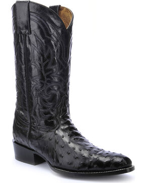 Circle G Men's Embroidered Quill Ostrich Exotic Boots, Black, hi-res