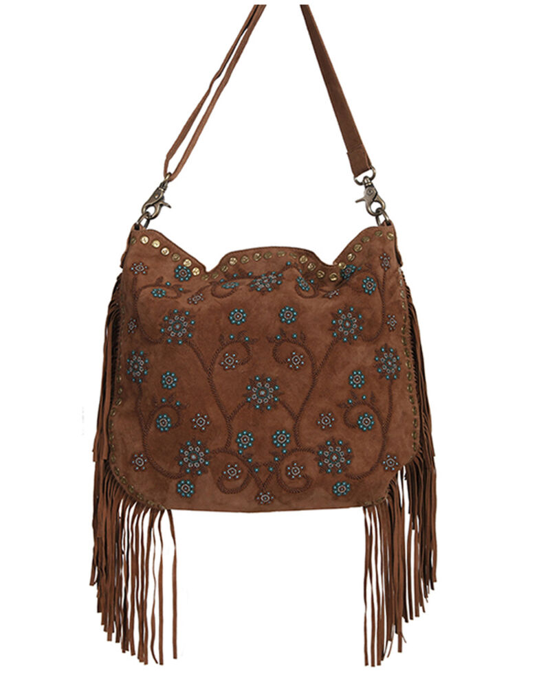 Scully Women's Side Fringe Handbag, Brown, hi-res