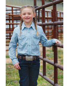 Cruel Girl Girls' Blue Geo Print Snap Long Sleeve Western Shirt , Blue, hi-res