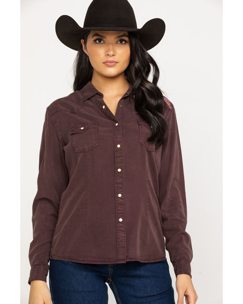 Panhandle Women's Tencel Long Sleeve Western Shirt, Brown, hi-res