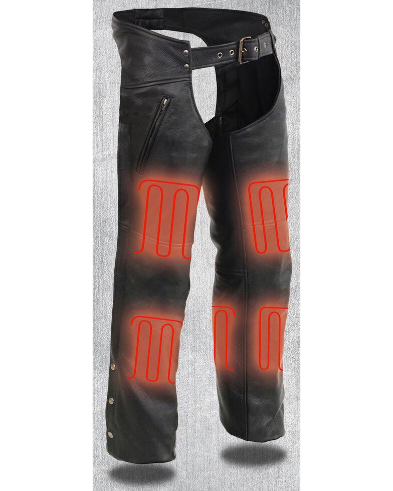 Milwaukee Leather Men's Heated Zipper Side Pocket Chaps - 4X, Black, hi-res