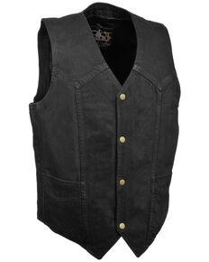 Milwaukee Leather Men's 3X Classic Snap Front Denim Biker Vest, Black, hi-res