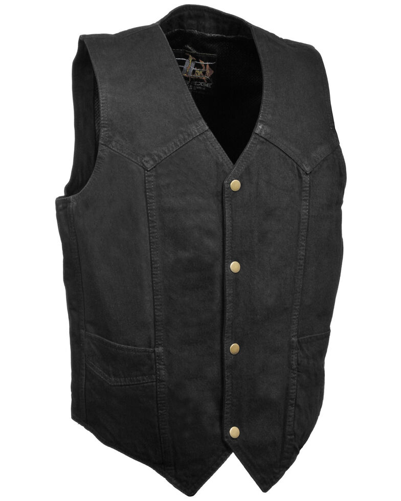 Milwaukee Leather Men's 3X Classic Snap Front Denim Biker Vest, Black, hi-res