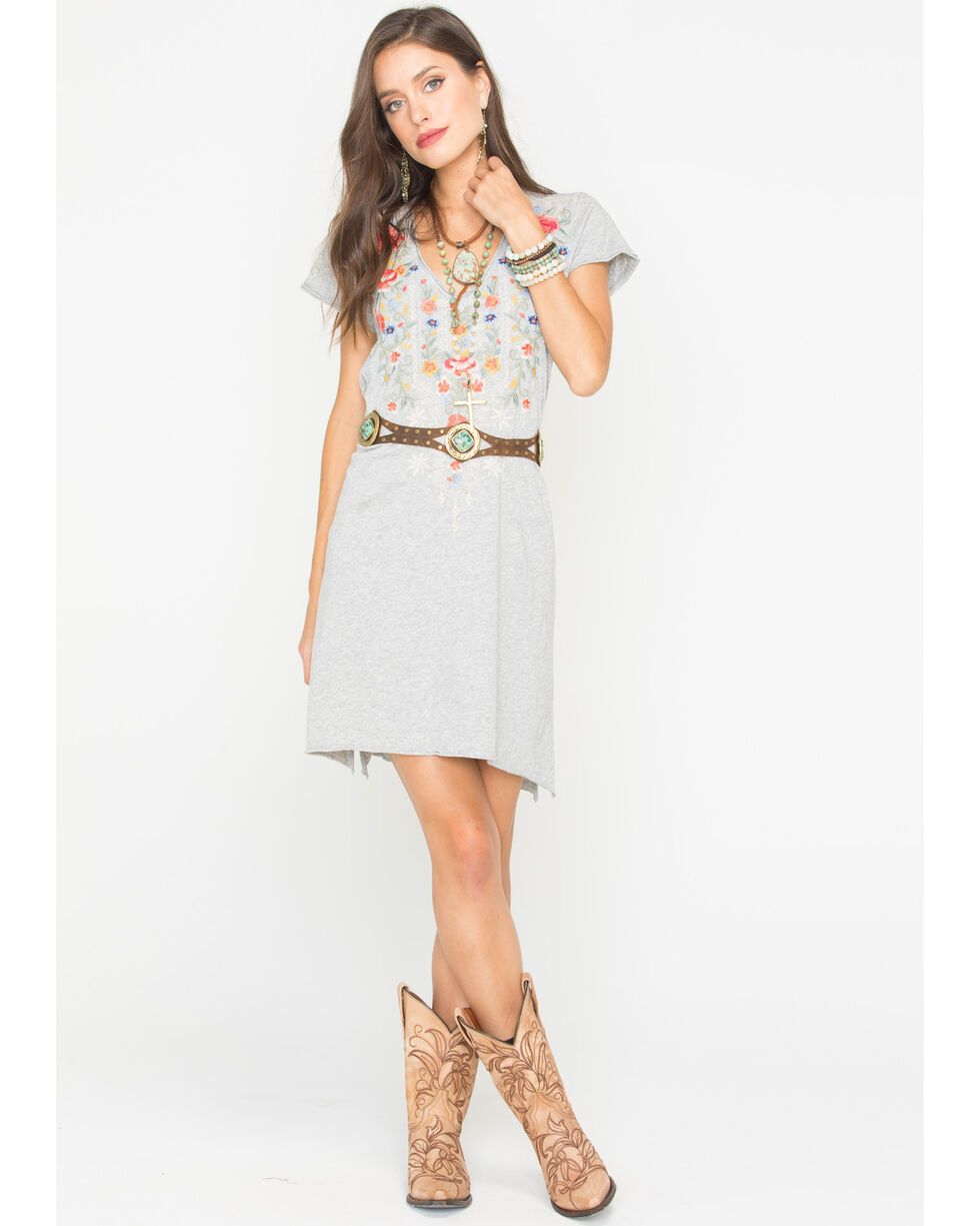 Johnny Was Women's Hazelton Draped Tunic Dress , Grey, hi-res