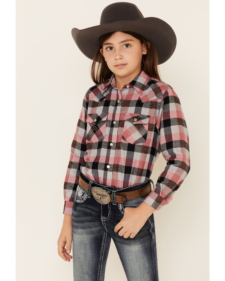 Wrangler Girls' Pink Plaid Long Sleeve Western Shirt , Pink, hi-res