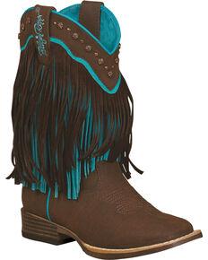 Blazin Roxx Toddler Girls' Candace Zipper Fringe Boots - Square Toe, Brown, hi-res