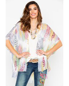 Panhandle Women's Feather Print Chiffon Kimono , Multi, hi-res