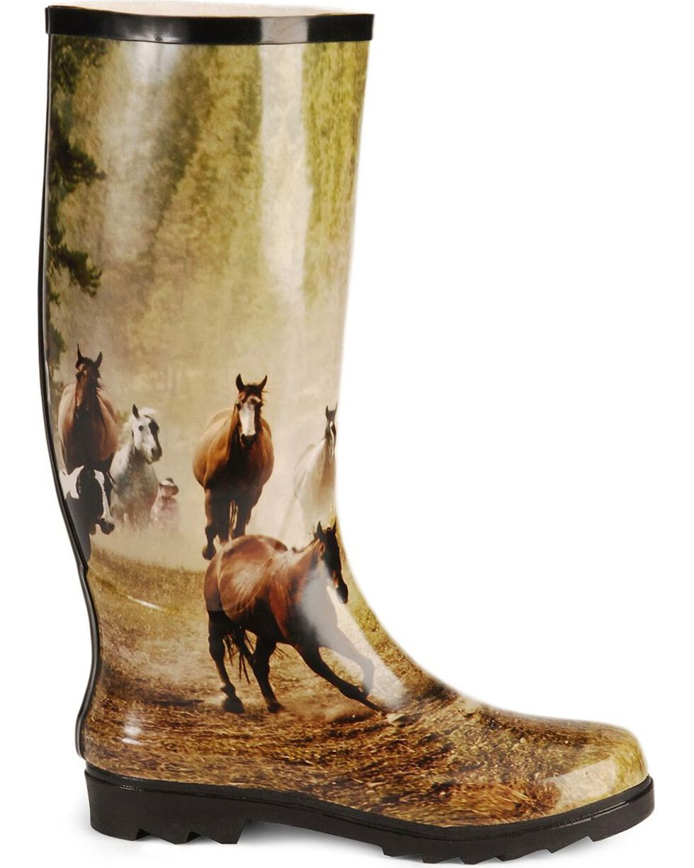 Smoky Mountain Women's Running Horses Rubber Boots, Print, hi-res