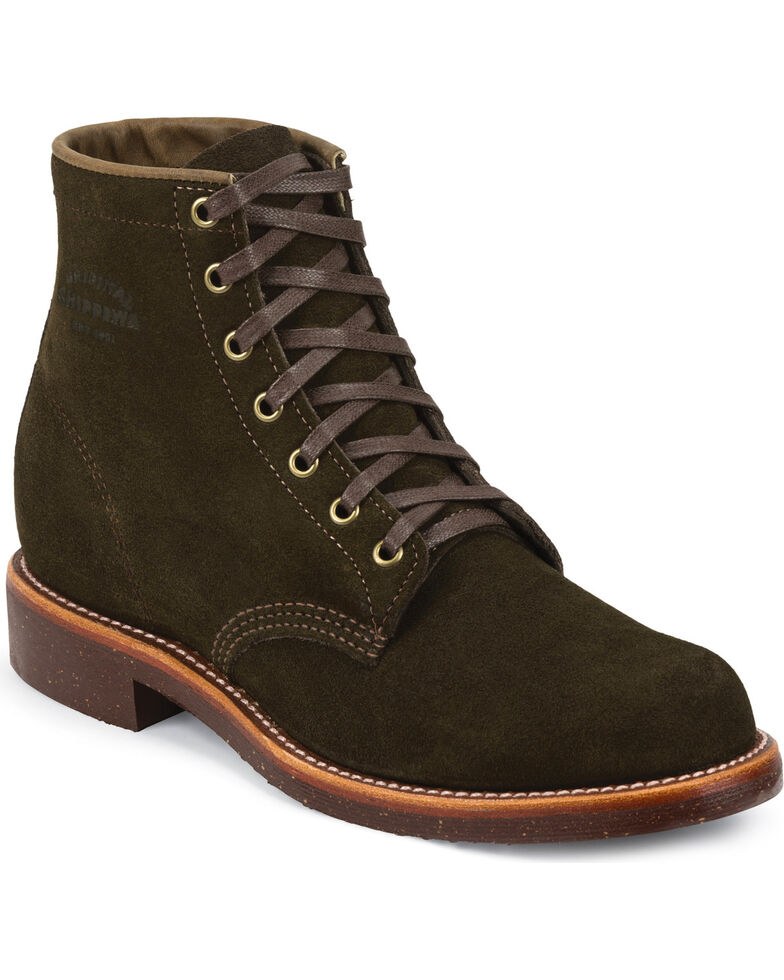 Chippewa Men's Chocolate Moss General Utility Suede Trooper Service Boots, Chocolate, hi-res
