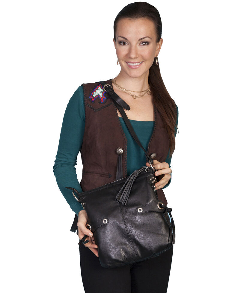 Scully Women's Leather Crossbody Bag, Black, hi-res