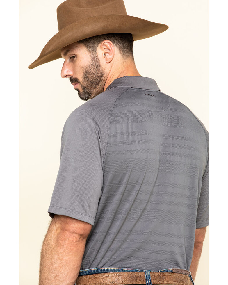 Ariat Men's Grey Edge TEK Short Sleeve Polo Shirt , Grey, hi-res