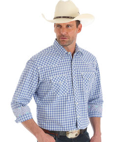 Wrangler Men's 20X Purple Plaid Advanced Comfort Stretch Long Sleeve Western Shirt , Purple, hi-res