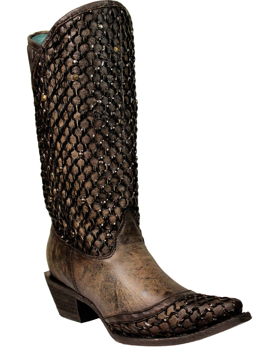 Corral Women's Overlay and Stud Accent Boots - Snip Toe , Black, hi-res