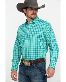 Wrangler Men's Green Wrinkle Resist Mini Check Plaid Long Sleeve Western Shirt , Green, hi-res