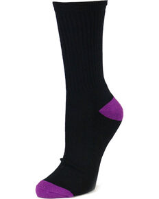 Shyanne® Women's 3 Pack Crew Socks, Black, hi-res