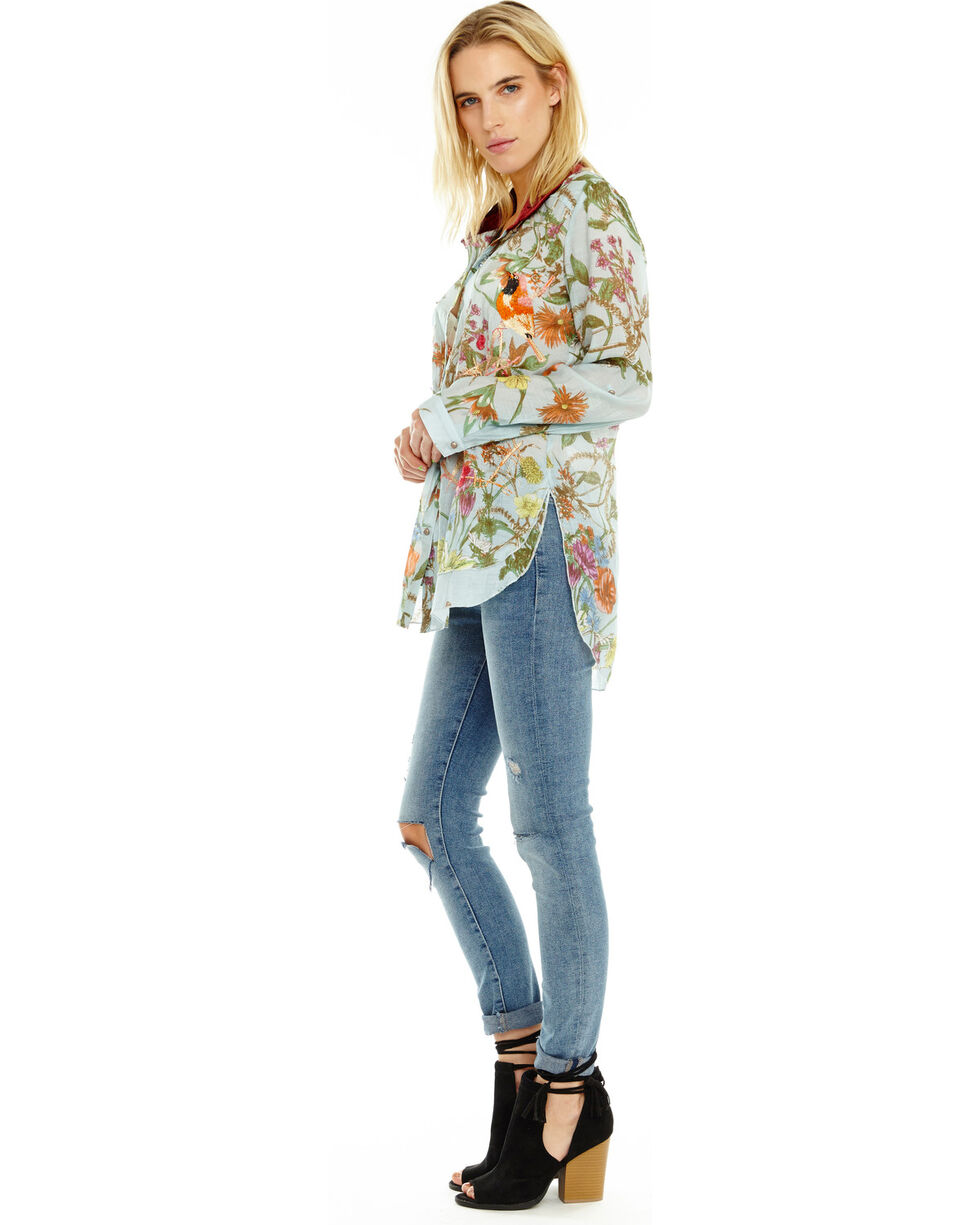 Aratta Women's Lilia Button Down Floral Shirt, Light Blue, hi-res