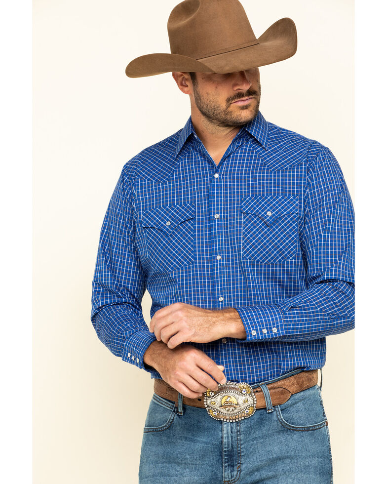 Ely Cattleman Mini Check Plaid Long Sleeve Western Shirt , Blue, hi-res