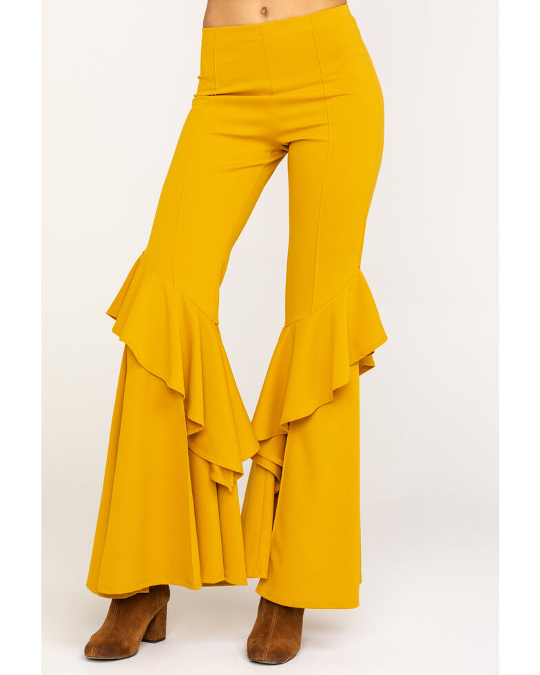 Rodeo Quincy Women's Solid Ruffle Flare Pants, Yellow, hi-res