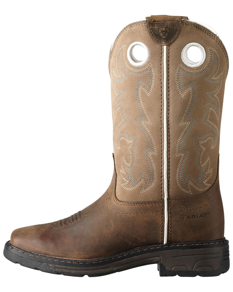 Ariat Youth's Workhog Boots, Brown, hi-res