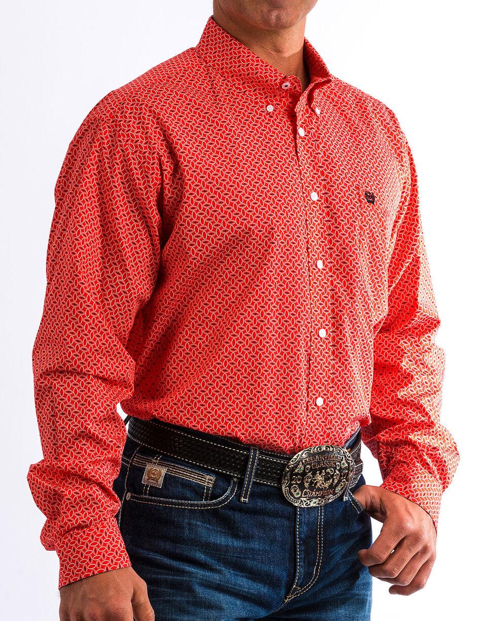 Cinch Men's Red Medallion Print Western Shirt, Red, hi-res