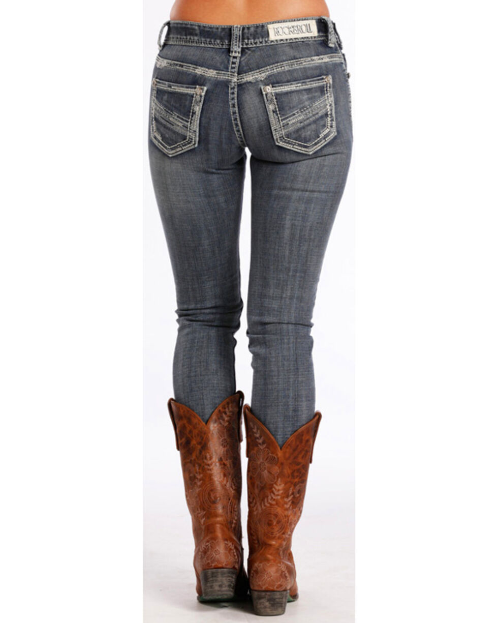 Rock & Roll Cowgirl Women's Mid-Rise Skinny Jeans , Indigo, hi-res