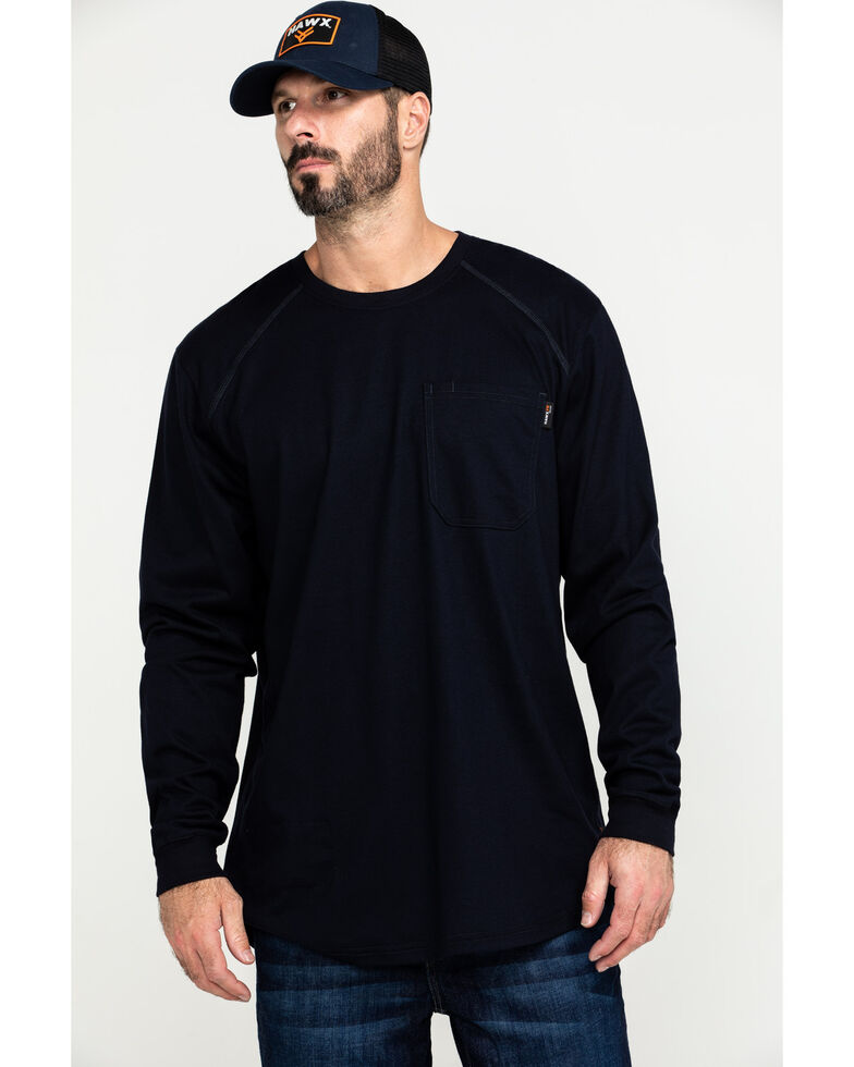 Hawx Men's Navy FR Pocket Long Sleeve Work T-Shirt - Tall , Navy, hi-res