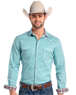 Rough Stock by Panhandle Men's Donato Vintage Print Long Sleeve Western Shirt, Teal, hi-res