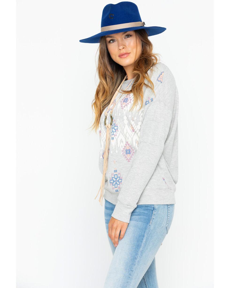 Miss Me Women's Tribal-Inspired Pullover Sweatshirt, Light Grey, hi-res