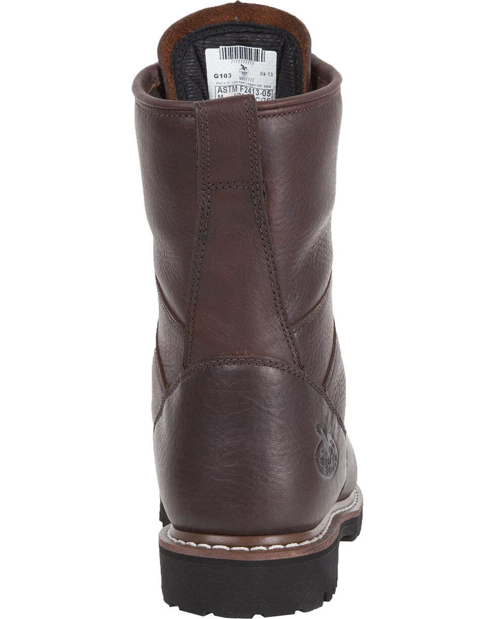 "Georgia Waterproof 8"" Low Heel Logger Work Boots, Chocolate, hi-res"