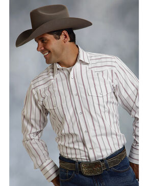 Roper Men's Red & White Striped Western Shirt, White, hi-res