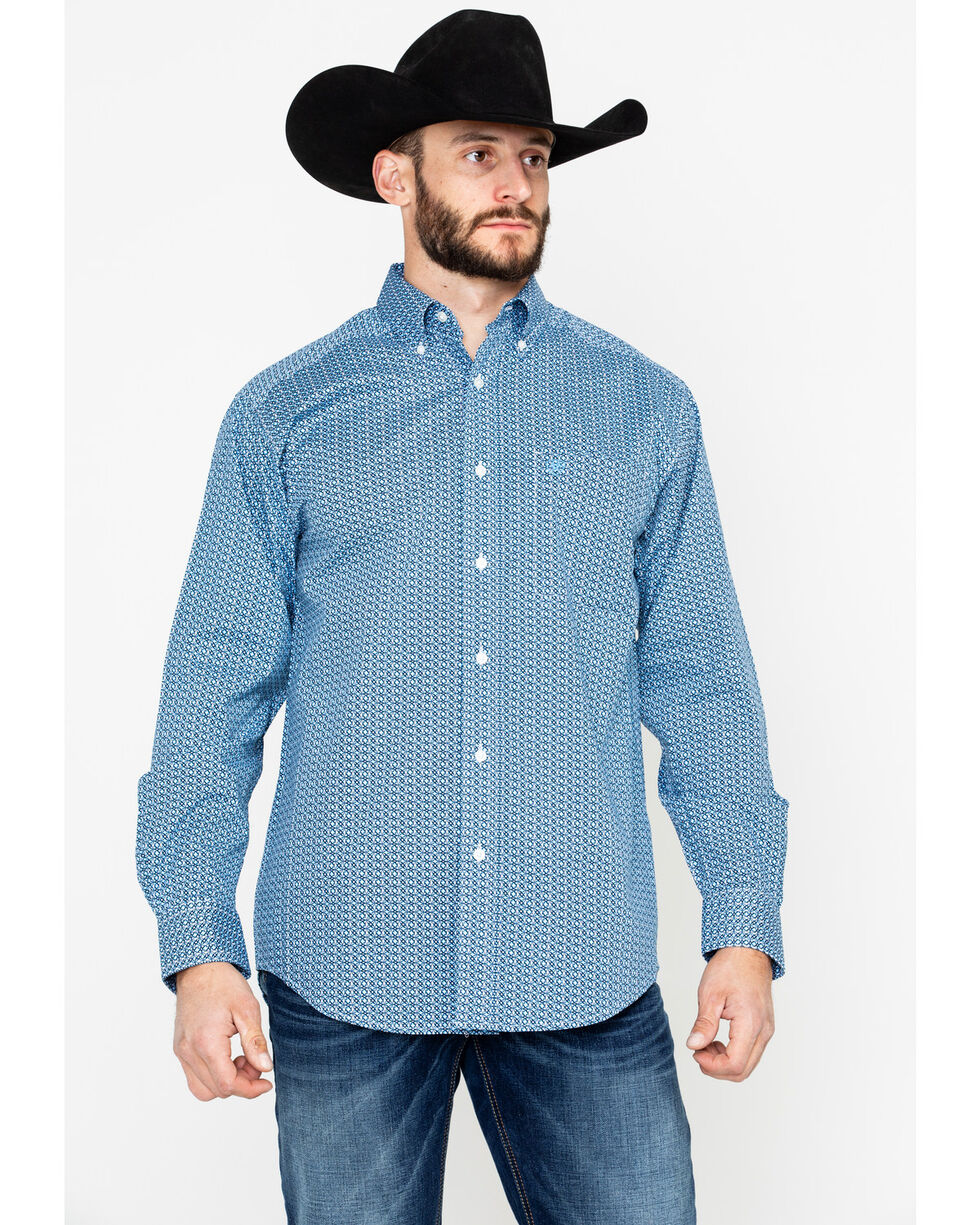 Ariat Men's Adderson Stretch Print Long Sleeve Shirt, Blue, hi-res