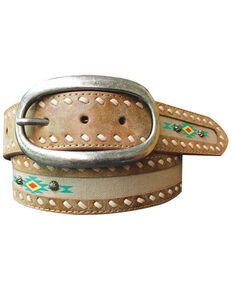 Roper Women's Aztec Print Fabric Inlay Distressed Leather Belt, Lt Brown, hi-res