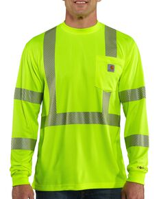 Carhartt Force Men's High-Visibilty Class 3 Long Sleeve Work T-Shirt, Lime, hi-res