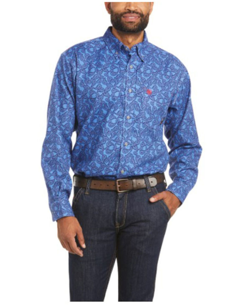 Ariat Men's FR Eastwood Paisley Print Durastretch Long Sleeve Button Work Shirt , Blue, hi-res