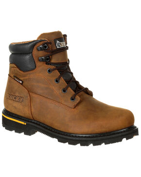 """Rocky Men's Governor Waterproof 6"""" Work Boots - Safety Toe, Brown, hi-res"""