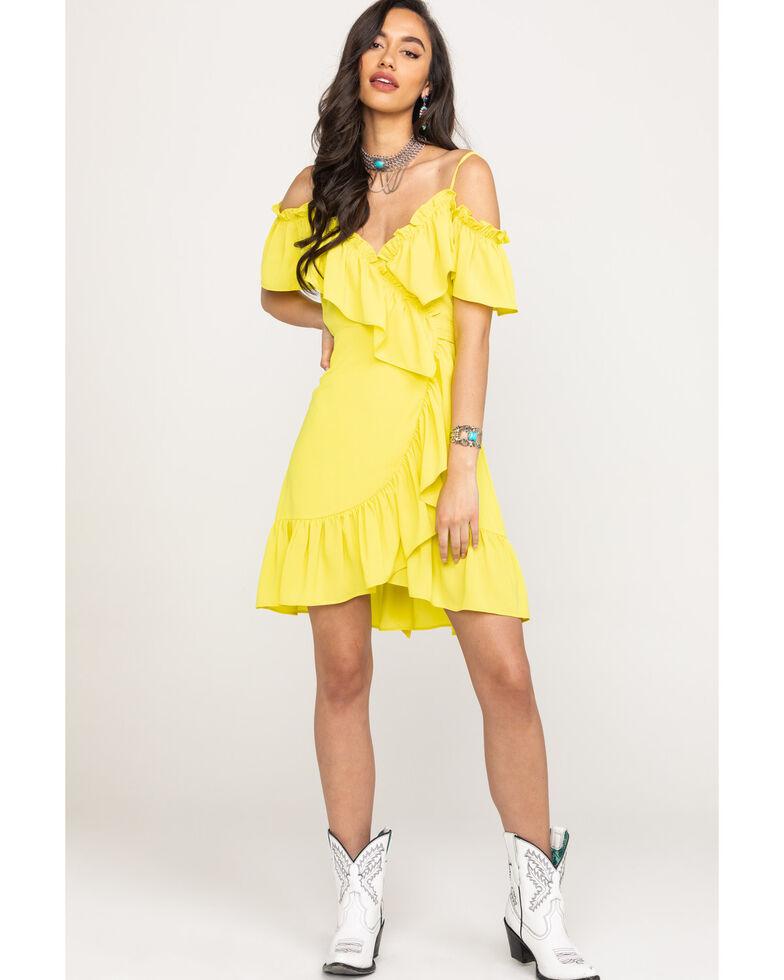 Flying Tomato Women's Yellow Mini Wrap Dress, Yellow, hi-res