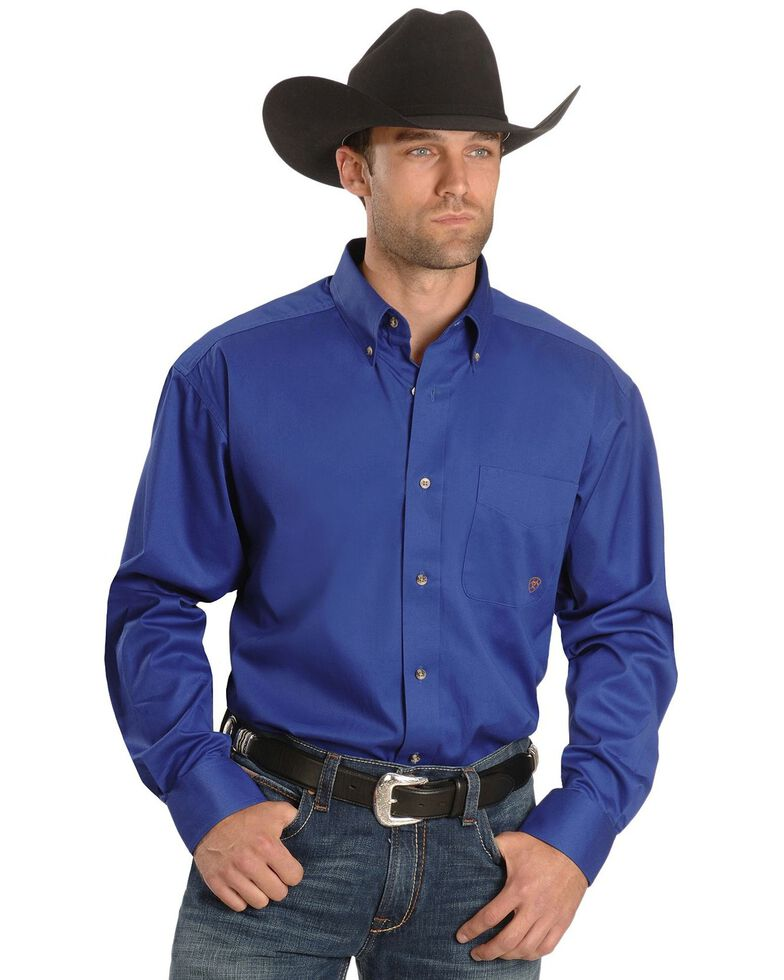 Ariat Men's Blue Solid Twill Oxford Long Sleeve Western Shirt - Big & Tall , Blue, hi-res